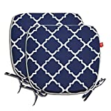 Pcinfuns Indoor/Outdoor All Weather Chair Pads 16' X 17' Seat Cushions Garden Patio Home Chair Cushions, Set of 2 (Navy Blue)