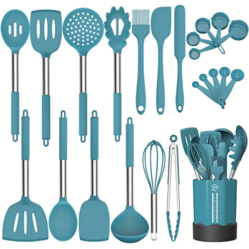 Silicone Cooking Utensil Set, Fungun Non-stick Kitchen Utensil 24 Pcs Cooking Utensils Set, Heat Resistant Cookware, Silicone Kitchen Tools Gift with Stainless Steel Handle (Blue-24pcs)