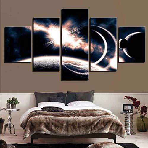 FLSNF Planet maan abstract modern woonkamer afbeelding huis decoratie canvas inkt olie wand 5-delig schilderij tekening hangmat cadeau 30x40cmx2 30x60cmx2 30x80cm1 Avoir Cadre