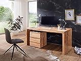 BuyDream Schreibtisch aus Massiv-Holz Akazie Computertisch 120 cm breit Echtholz Design Büro-Tisch...