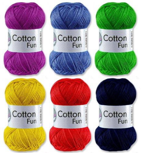 Gründl Cotton Fun Häkelgarn Schulgarn 100% Baumwolle SET 1 Bunt Mix 6 x 50 g. = 300 g.