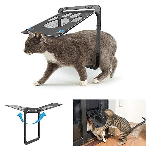 Mzthkly Puerta Antiarañazos para Mascotas, Solapa para Perro Gato, Puerta con Mosquitera y Cierre Automático con Cerradura
