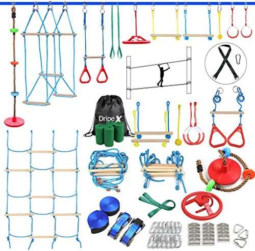 Ninja Warrior Obstacle Course for Kids 2X60FT Ninja Slackline with Most Complete Accessories product image