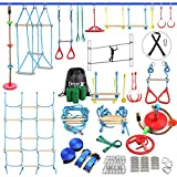 Ninja Warrior Obstacle Course for Kids - 2X60FT Ninja Slackline with Most Complete Accessories for Kids, Climbing Rope Swing, Trapeze Swing, Ninja Wheel, Webbing Ladder Plus 1.2M Arm Trainer