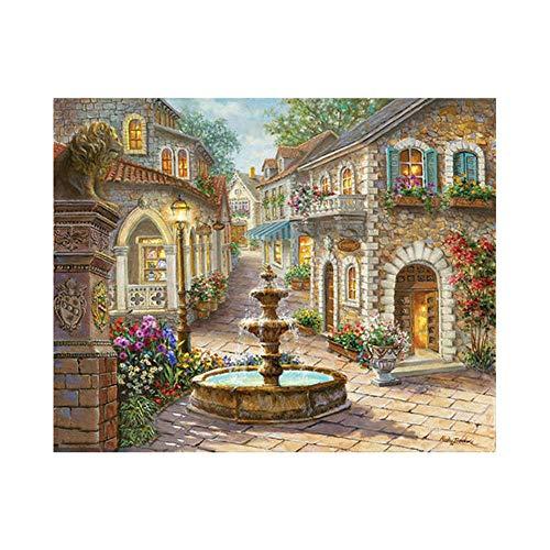 Malen nach Zahlen für Erwachsene Gartenbrunnen DIY Malen nach Zahlen Kit für Kinder Anfänger, selber auf Leinwand malen nach Zahlen zur Heimdekoration, No Frame 40x 50 cm