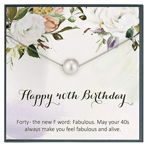 Grace of Pearl Regalos de 40 cumpleaños para mujeres, ideas de regalo para 40 años de edad, 40 regalos de cumpleaños para mujer, regalos de cuarenta cumpleaños personalizados regalos de joyería