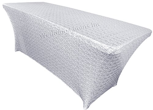 SILVER 6 ft Fitted Spandex TABLECLOTH Metallic Table Cover Wedding Party