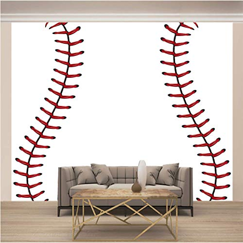 JKM Wallpaper 3D Selbstklebender Wandaufkleber Vliesstoff Wandgemälde Mehrfachgröße Weiß Kreativität Sport Baseball Tapeten Wandbild Hintergrundbild Fototapete Wandbild, Motivtapeten, Vlies-Tapeten Ab