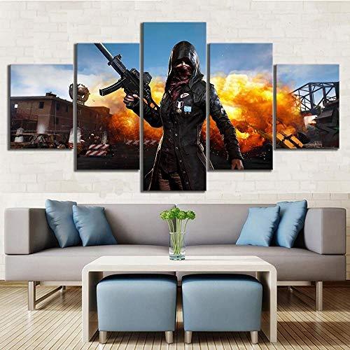 GTRB 5BilderLeinwan5 Stück Pubg Playerunknowns Schlachtfelder Mädchen Trenchcoat Explosion Spiel Poster HD Wandbilder für Home Decor Wandkunst5 Drucke auf Leinwand