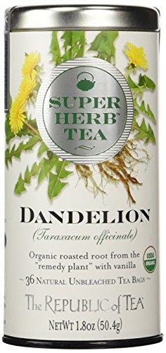 The Republic of Tea Organic Dandelion SuperHerb Herbal Tea, Caffeine-Free, Non-GMO Verified (36 Tea Bags)