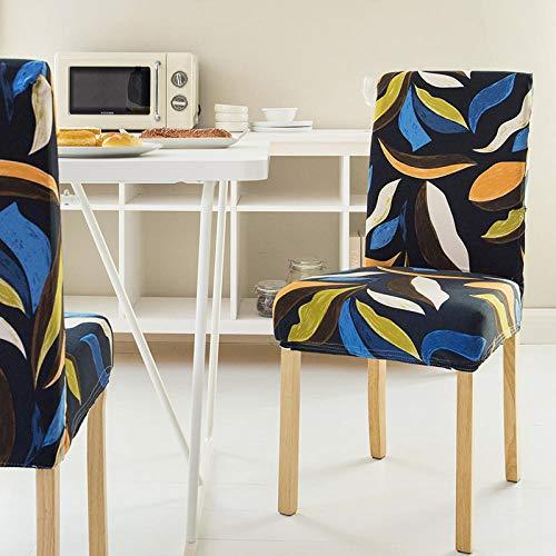AHKGGM Fundas Sillas Comedor Pack De 8 Azul Fundas Sillas Comedor Hojas Abstractas Fundas Elásticas Chair Covers Lavables Desmontables Cubiertas Adecuado para Boda, Hogar, Restaurante