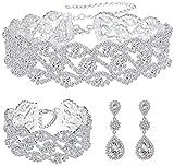 Paxuan Women Silver Rhinestone Crystal Wedding Bridal Choker Necklace Earrings Bracelet Jewelry Sets