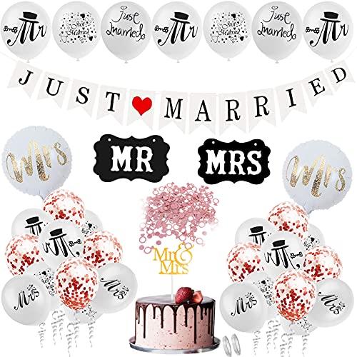 Just Married Girlande,Hochzeitsgirlande Set mit Ballons,MR & MRS Deko Buchstaben Hochzeit,Just Married Hochzeit Deko Set,Just Married Vintage für Deko Hochzeit Auto Tischdeko Brautpaar Zimmerdek