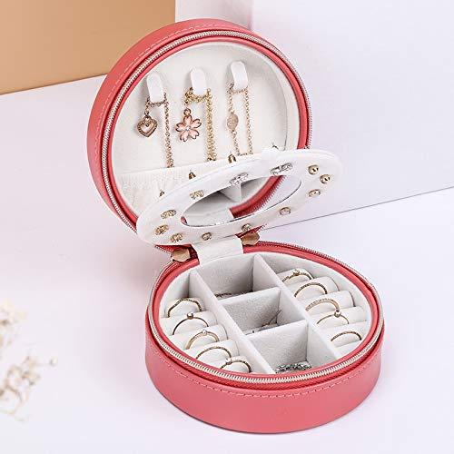 MUY Caja de joyería Redonda de Doble Capa, Caja de joyería con Cremallera, Almacenamiento de Maquillaje, Organizador de Maquillaje portátil, Organizador de joyería de Moda de Belleza