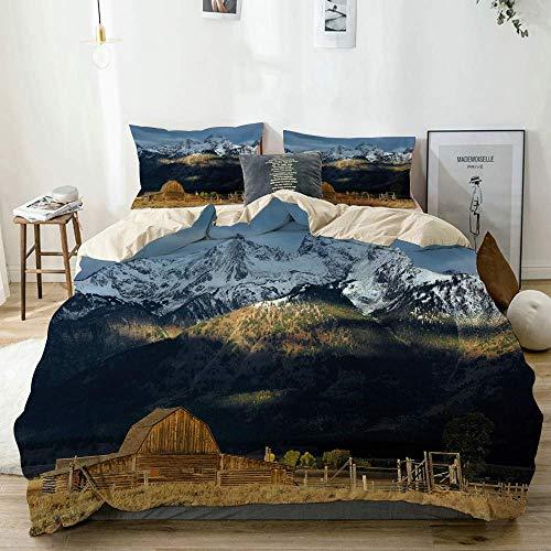 Juego de Funda nórdica Beige, Vista panorámica de Las Grandes montañas Nevadas...