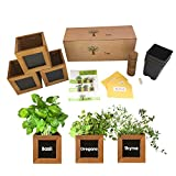 Indoor Herb Garden Kit - Includes 3 Wooden Herb Pots, Internal drip Trays, Soil Pellets, Chalk, Instructions Booklet and Basil, Oregano & Thyme Non GMO Herb Seeds. DIY Kitchen Herbs Growing Kit.