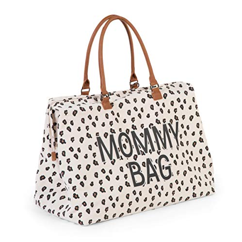 Childhome Wickeltasche MOMMY BAG groß in Leoparden-Muster inklusive Wickelmatte, 55 x 30 x 30 cm