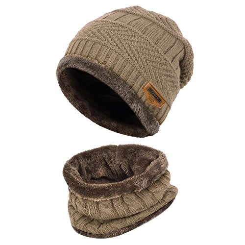 Vbiger Kinder Wintermütze Winterschal Beanie Kinder Strickmütze Beanie Mütze für Kinder mit Fleecefutter, Khaki, Einheitsgröße