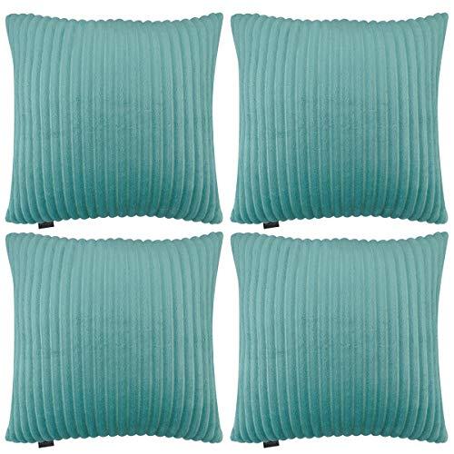 Hodeacc 4 Packs Velvet Flannel Striped Throw Pillow Covers,Super Soft Plush Cushion Covers Faux Fur Decorative Throw Pillowcase Home Decor Cushion Cover,16x16 inch/40x40 cm