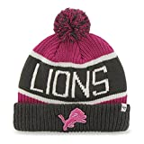 47 Brand Magenta/Pink'Calgary' Beanie Hat with Pom - NFL BCA Cuffed Winter Knit Toque Cap (Detroit Lions)