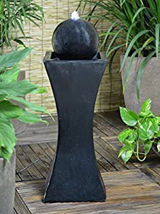 Small Solar Powered Water Feature Black Column and Ball PC241
