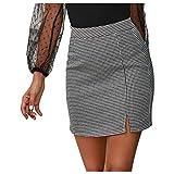Lenfeshing Moda Falda de La Pata de Gallo para Mujer Mini Falda A-línea Elegante Commuter de Cintura Alta Sexy Cuadros Ajustado Falda
