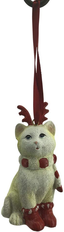 Comfy Hour Winter Holiday Home Collection Cat Wearing Scarf Reindeer Antler Headwear X'Mas Shoes Christmas Tree Ornament, Xmas Decoration, Red and Light Yellow, Polyresin