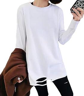BSCOOL長袖 tシャツ レディース ゆったり ロンT無地 カットソー プルオーバー Tシャツ ダメージ加工 ファッション カットソー