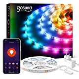 Smart Striscia Led 5M RGB, Gosund Intelligente Retroilluminazione WiFi Luci Led con APP Control, Strip LED Controllato Musica, Multicolore Nastro LED con Alexa/Google Home,per Cucina, Festa, Bar ecc