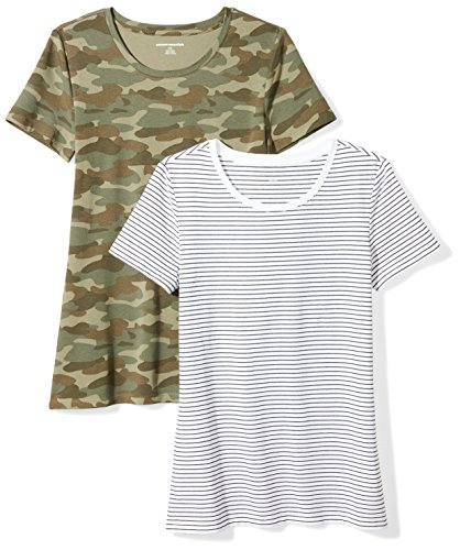 Amazon Essentials Damen-T-Shirt, klassisch, kurzärmlig, Rundhalsausschnitt, 2er-Pack, white stripe/camo print, Small