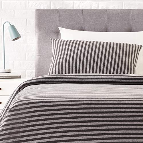 AmazonBasics Jersey Duvet Cover Set, Stripes - 135 x 200 cm / 50 x 80 cm, Dark Grey