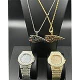 MTRESBRALTS - Conjunto de 2 relojes de oro y plumas para hombre, diseño hip hop, con cristales y diamantes, color dorado