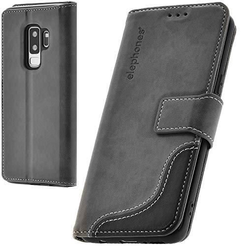 elephones Handyhülle für Samsung Galaxy S9 Plus Hülle aus PU Leder Samsung Galaxy S9 Plus Schutzhülle Flip Hülle Klapphülle Handytasche für Samsung S9 Plus Grau