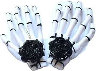 Skeleton Claw Hair Clip Pins Skull Hand Bone Hairclips Ghost Claw Hairpins JHH50 (1-Black Rose)