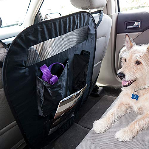 Furhaven Pet Car Barrier - Universal Adjustable Car Safety Vehicle Travel Barrier and Backseat Storage Organizer for Dogs and Cats, Black, One-Size