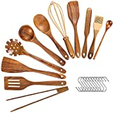 Wooden Utensils For Cooking,11 Pcs Wooden Spoons for Cooking, Teak Wooden Utensils Set, Wood Kitchen...