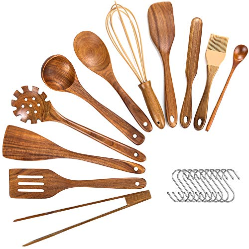 Wooden Utensils For Cooking,11 Pcs Wooden Spoons For Cooking, Teak Wooden Utensils Set, Wood Kitchen Utensils For Nonstick Pan, Wood Spatula Spoon Nonstick Kitchen Utensil Set (11)