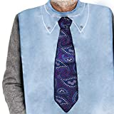 Classy Pal, Adult Bibs for Men, Dress 'n Dine Clothing Protectors for Eating, Senior Adult Bib Terry Cloth Crumb Catcher, Embroidered Design, Waterproof, Reusable, Washable (Paisley Tie)