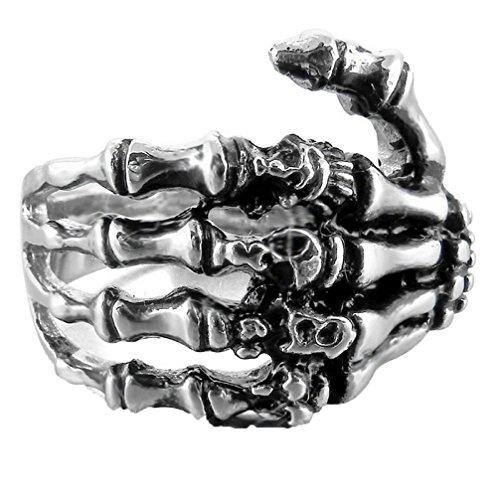FIBO STEEL Skull Ring Stainless Steel Skull Rings for Men Women Vintage Gothic Ring Biker,Size 13