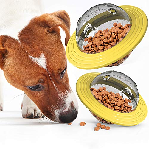 Kolice Interactive Dog & Cat Treat Ball Toy Paraflight Flyer Frisbee Design, IQ Food Dispenser Dog Puzzle Slow Feeder Funny for Small Medium Dogs Stimulation Playing Chasing Chewing