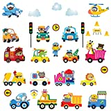 Pegatinas de Pared Animales Carros Calcomanías Conductores de Autos Adhesivos Pared para Infantiles Niños Bebés Guardería Dormitorio Decoración
