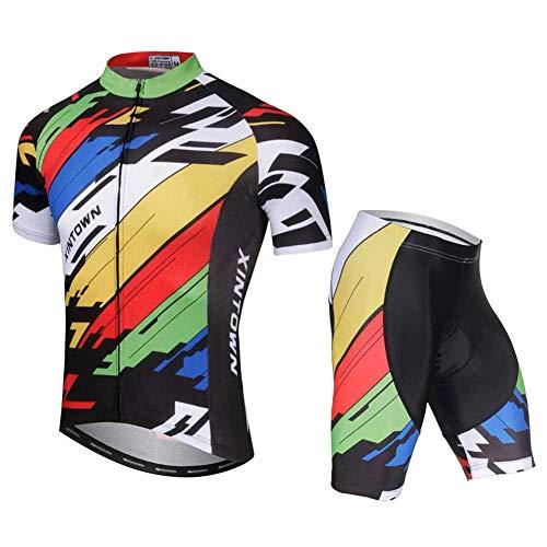 SXSHUN Hombres Conjunto de Maillot de Ciclismo Camiseta de Bicicleta Pantalones Cortos...