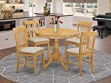 East West Furniture ANNO5-OAK-C 5 Pieces Set – 4 Room Chairs with Linen Fabric Seat and Slatted Back-Round Top and Pedestal Legs Dining Table (Oak Finish)