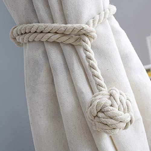Do4U Ein Paar Hand Stricken Vorhang Seil Raffhalter Vorhang Raffhalter Holdback Vorhang zurück mit Einer Kugel (beige)
