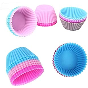 Uzinb 1pcs/12pcs Silicone Cupcake Mold DIY Baking Fondant Muffin Cake Decorating Liner Pudding Jelly Case:Amedama