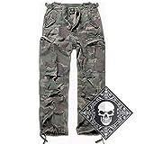 urbandreamz M65 Vintage Trouser Pantalón Pantalones Cortos Bermudas Pantalón Cargo Pantalones Vaqueros con UD Pañuelo S-7XL - Woodland, XL