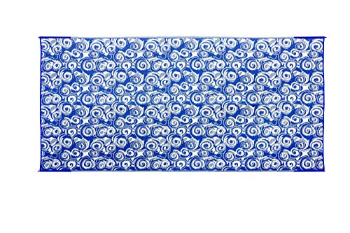 Camco 42841 Reversible Design 8 by 16 Foot Outdoor Camping UV Coated Breathable Portable RV Awning Leisure Mat Pad, Blue Swirl