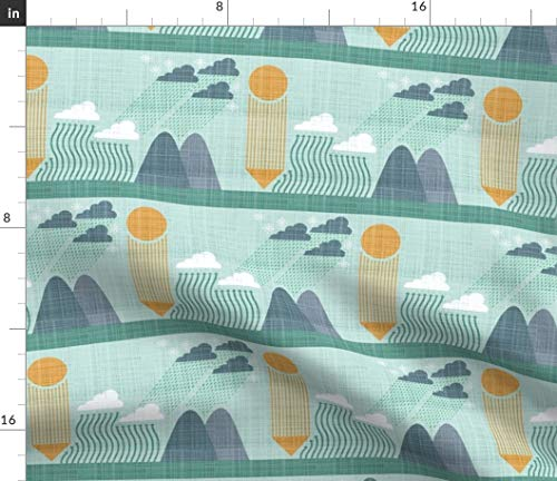 Spoonflower Fabric - Clouds Earth Science Geology Water Cycle Printed on Fleece Fabric by The Metre Sewing Blankets Loungewear and No-Sew Projects