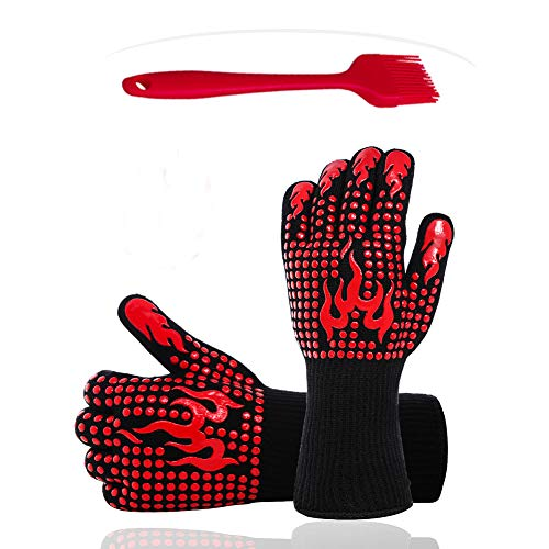 Zhjdongtuo BBQ Oven Mitts Grill Gloves - Heat Resistant Oven Glove Non-Slip Gloves for Cooking, Kitchen, Fireplace, Grilling Protect Hands from Being Burnt (red, 2pcs)