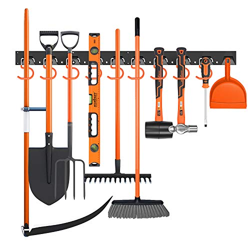 SEDY 64-Inch Adjustable Storage System, Wall Mount Tool Organizer, Tool Hangers for Mop and Broom Holder Shovel, Rake, Broom, Mop Holder